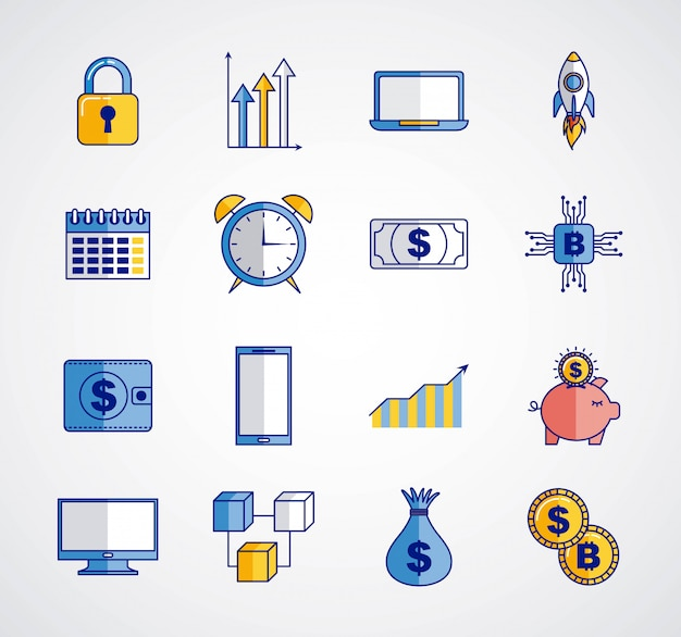 Fintechビットコイン暗号通貨 無料ベクター