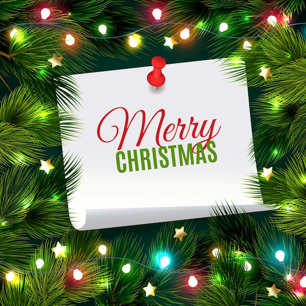 Fir needle illustration with christmas note Free Vector