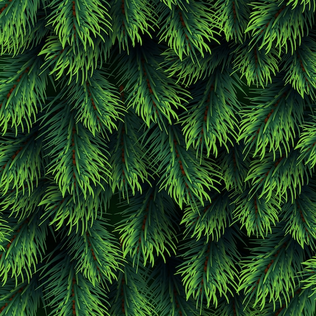 Fir tree branches pattern. christmas background with green pine branching. happy new year vector decor Premium Vector