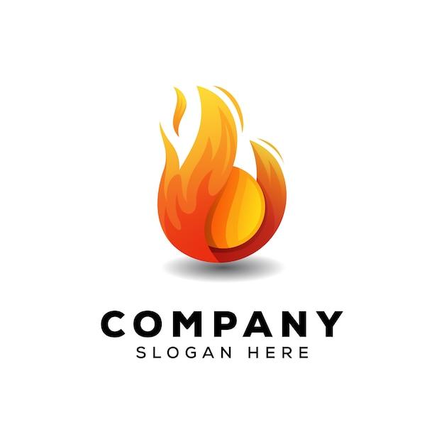 Fire ball logo design template Premium Vector