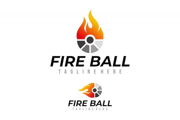 Огненный шар логотип вектор изолированные Premium векторы