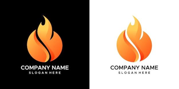 火を燃やすロゴデザイン。 Premiumベクター