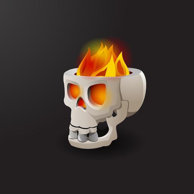 Fire burning in skull vector illustration Free Vector