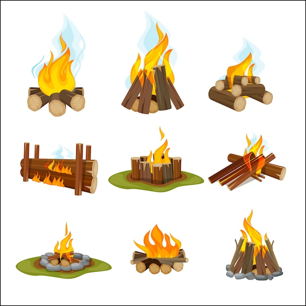 Fire camp. wooden fireplace bonfire light hiking symbols travel collection natural flame cartoon collection. fireplace and campfire, hot firewood illustration Premium Vector