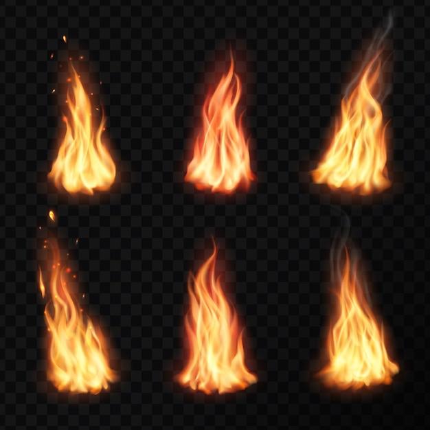 火、キャンプファイヤートーチの炎。燃えるたき火は、オレンジと黄色に輝くフレアブレイズエフェクトで、火花、粒子、燃えさし、蒸気を飛ばします。リアルな点火舌セット Premiumベクター