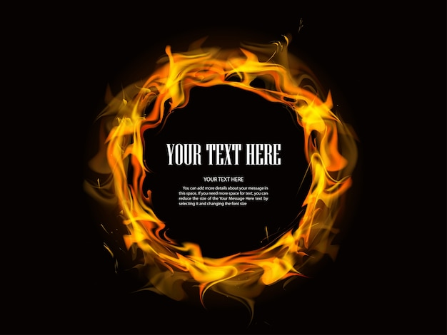 Fire circle background Free Vector