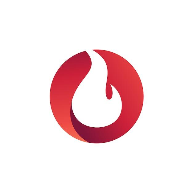 Fire in circle logo vector Premium Vector