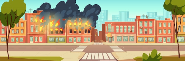 Fire in city house, burning building cartoon Free Vector
