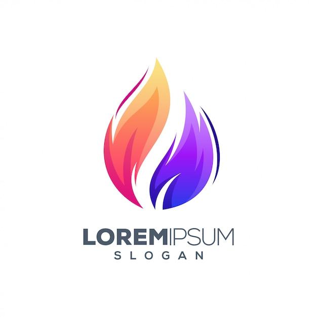 Огонь красочный логотип дизайн шаблона Premium векторы