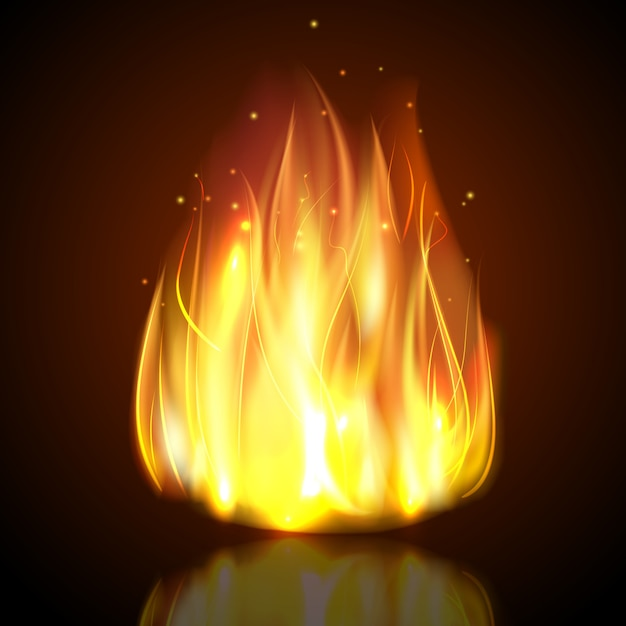 Fire on dark background Free Vector