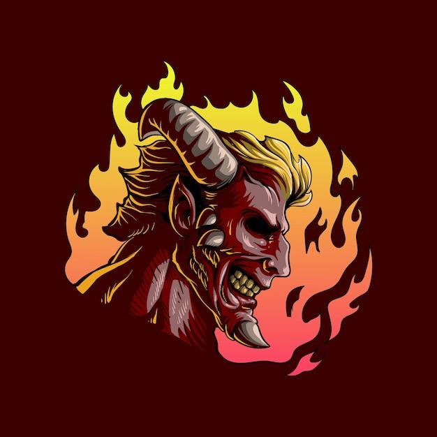 화재 악마 무서운 그림 프리미엄 벡터