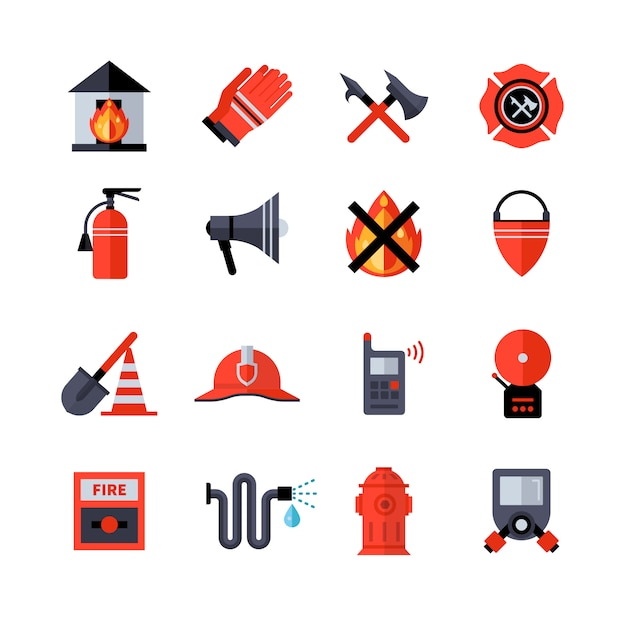 Fire department decorative icons Free Vector