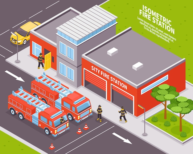 Fire department illustration Free Vector