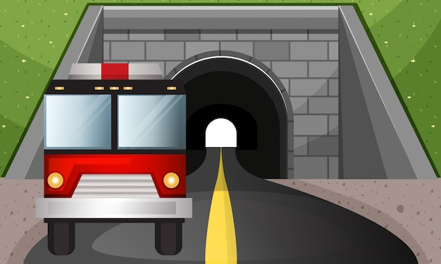 Fire engine driving out of tunnel Free Vector