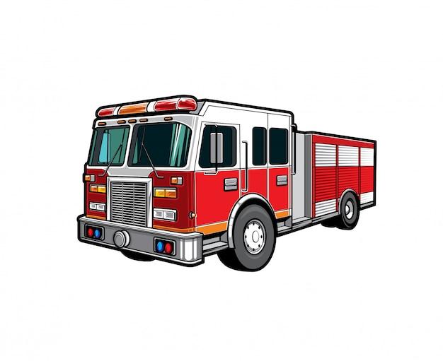 Fire engine truck, firetruck car of firefighters Premium Vector