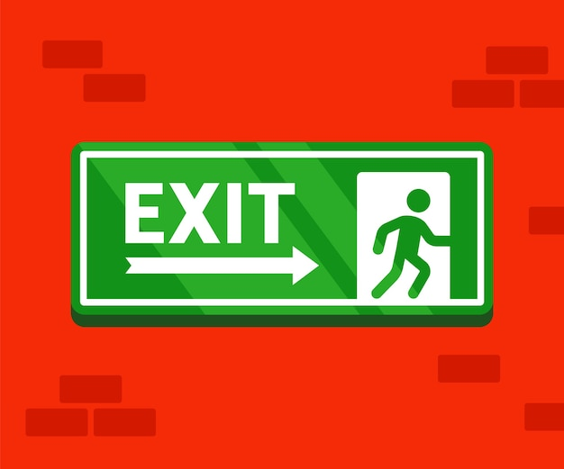 Fire evacuation sign. the safe exit sticker hangs on a brick wall. Premium Vector
