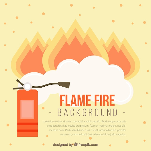 Fire extinguisher background and flames in flat design Free Vector