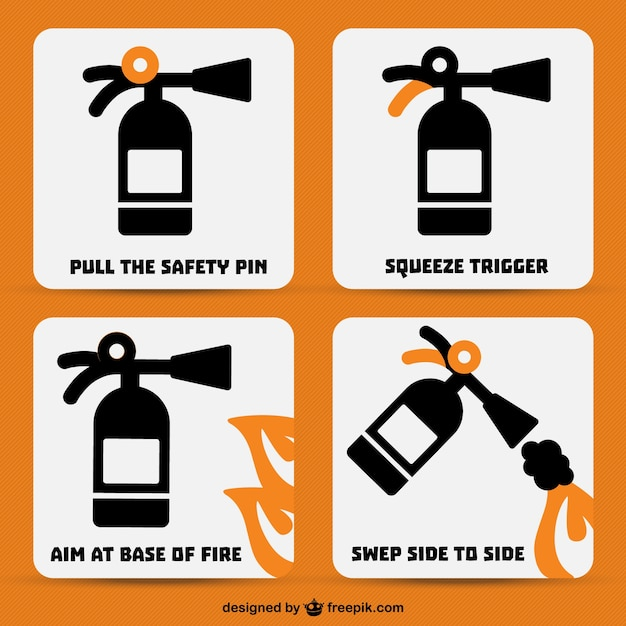 Fire extinguisher icons set Free Vector