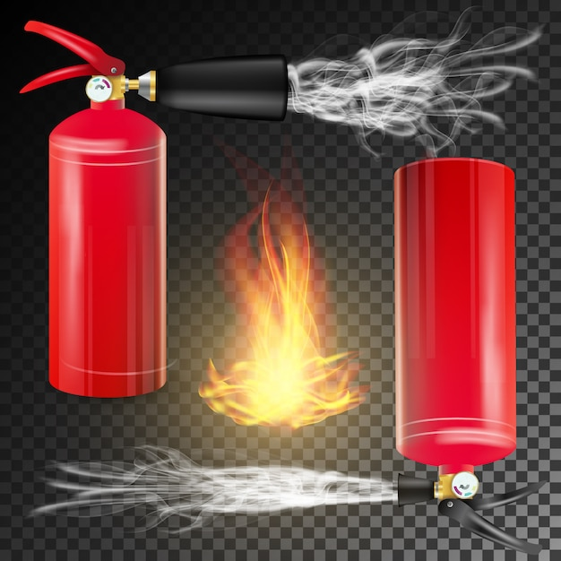 Fire extinguisher vector. sign 3d realistic fire flame and red fire extinguisher. transparent background illustration Premium Vector