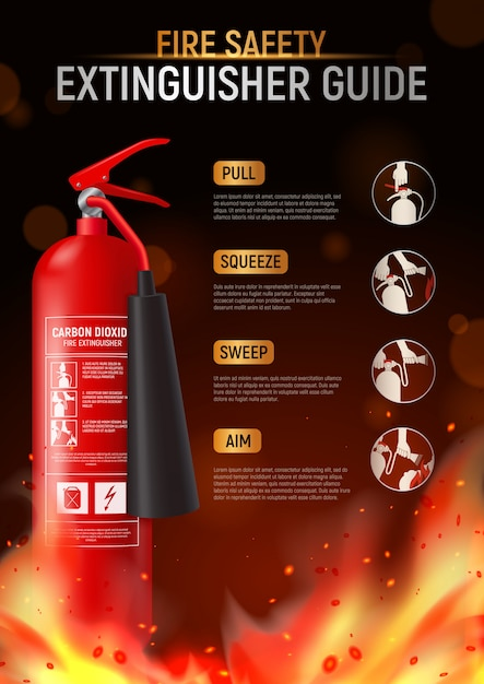 Fire extinguisher vertical poster with big image of fire-fighter flame and editable text with pictograms  illustration Free Vector