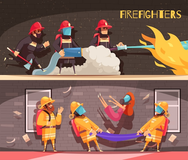 消防士バナーセット 無料ベクター