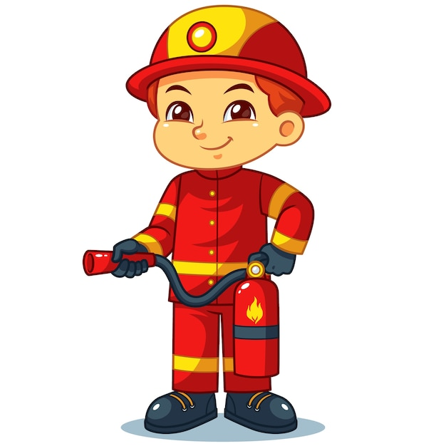 Fire fighter boy ready to spray with fire extinguisher. Premium Vector