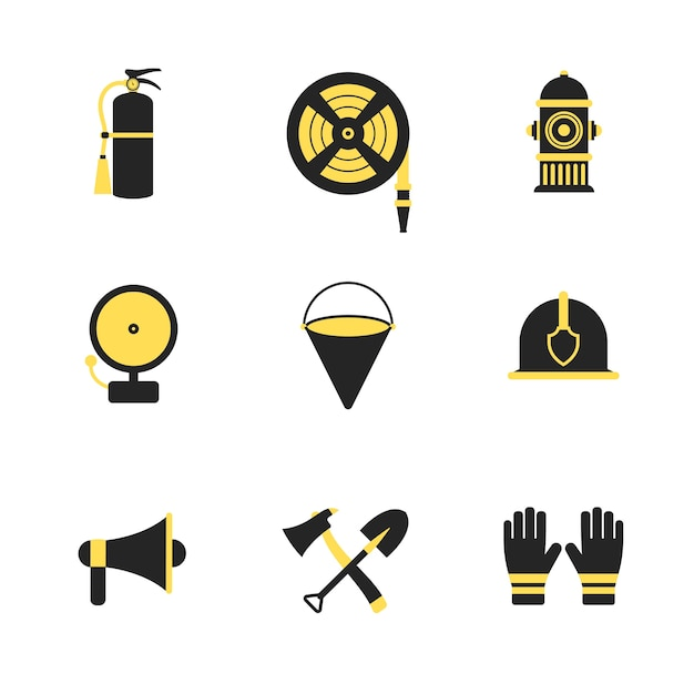 Fire fighter and emergency rescue icons set vector illustration for mobile, web and applications. Premium Vector