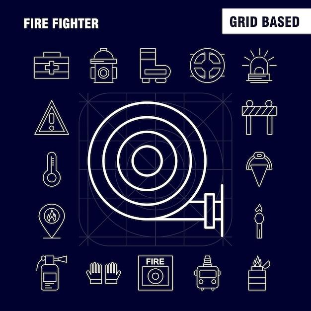 Fire fighter line icon for web Premium Vector