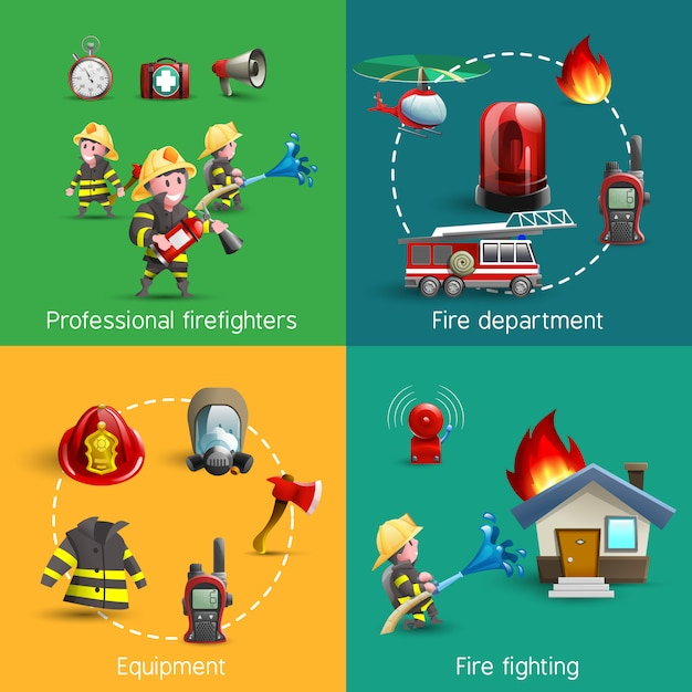 Fire fighters 4 icons square composition Free Vector