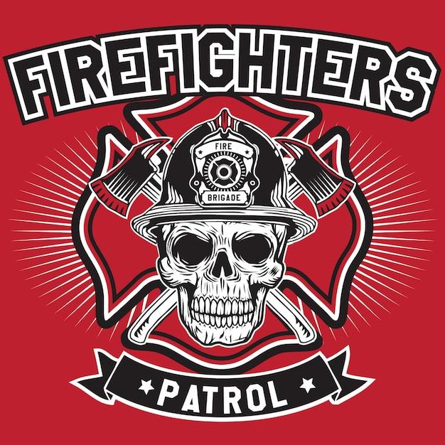 Fire fighters patrol skull Premium Vector