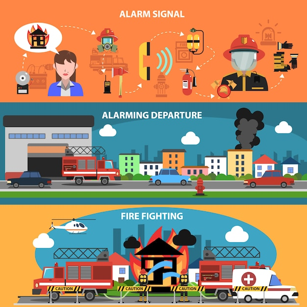 Fire fighting horizontal banner Free Vector