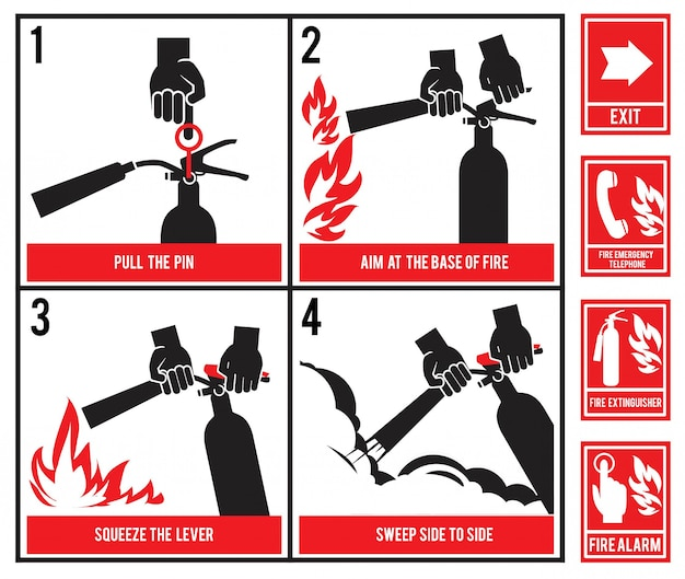 Fire fighting technical .  silhouette of fire extinguisher Premium Vector