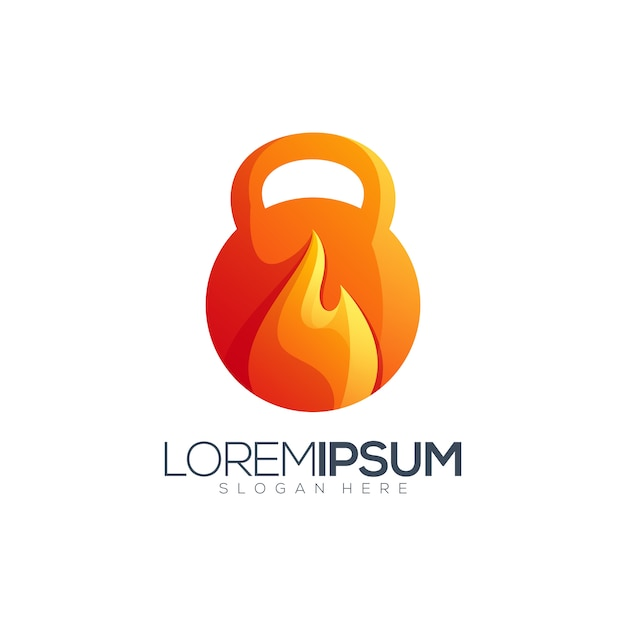 Fire fitness logo design Premium Vector