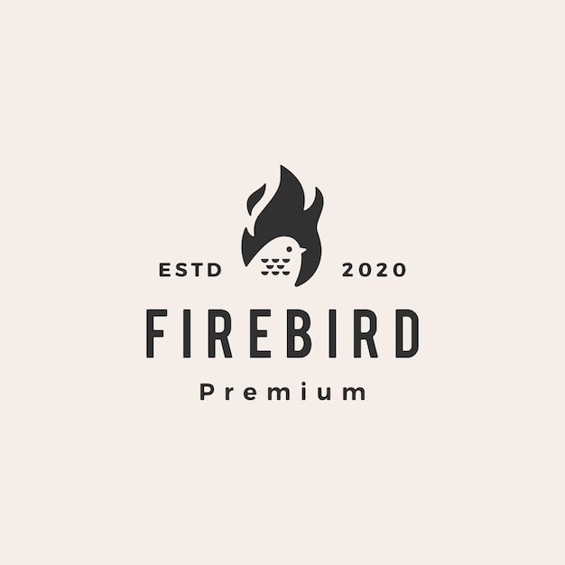 Fire flame bird hipster vintage logo  icon illustration Premium Vector