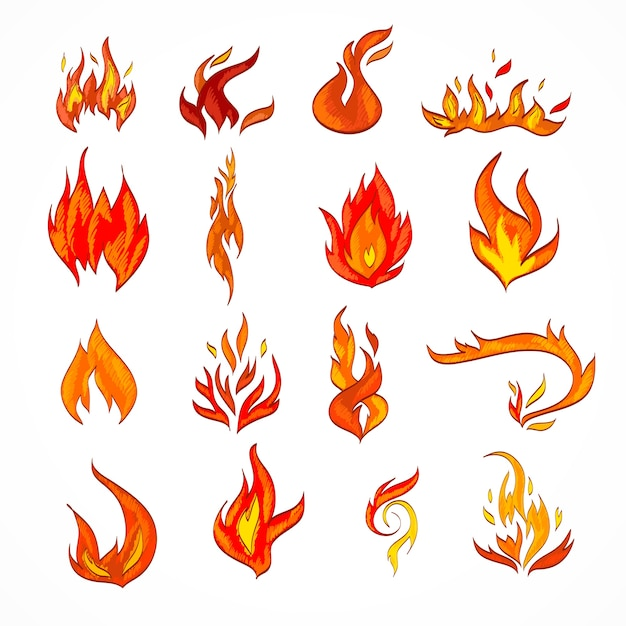 Fire flame burn flare decorative icons set isolated vector illustration Free Vector