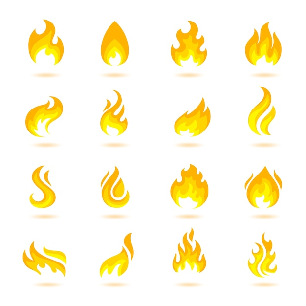 Fire flame burn flare torch hell fiery icons set isolated vector illustration Free Vector