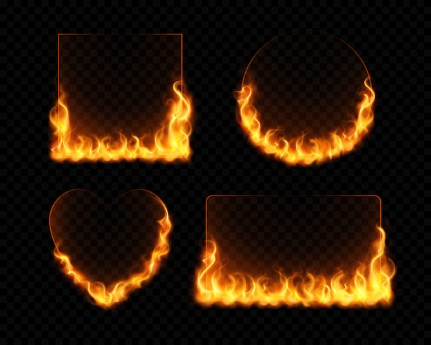 Fire flame frames realistic set of burning geometrical figures on dark transparent background isolated Free Vector