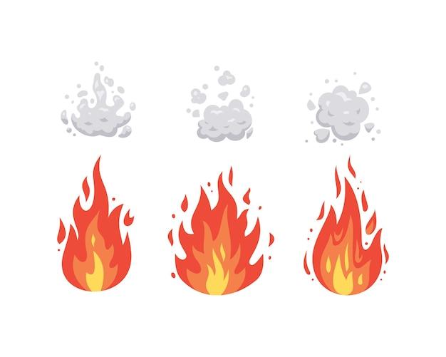 漫画の火炎アイコン。さまざまな形の炎。火の玉セット、燃えるようなシンボル。 Premiumベクター