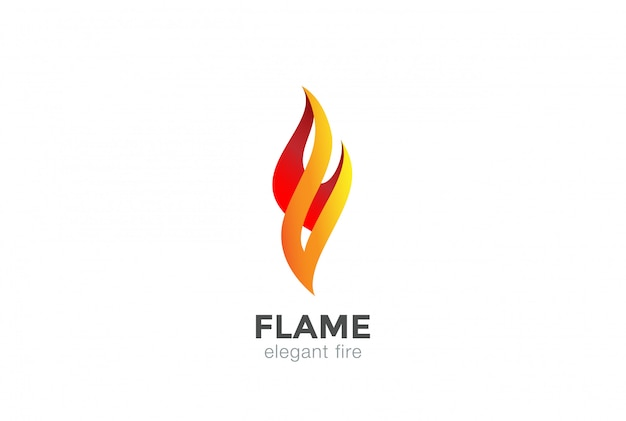 Fire flame logo abstract design elegant fashion jewelry template. Premium Vector