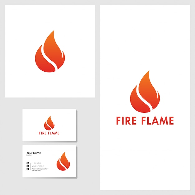 Fire flame logo design with business card mockup Premium Vector