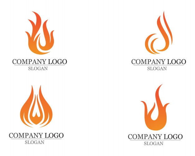 Fire flame Logo Template vector icon Oil gas and energy Vector ...