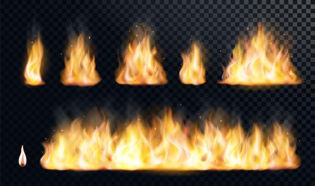 Огонь пламя реалистичный набор flare bonfire яркие маленькие и большие огненные элементы иллюстрации Premium векторы