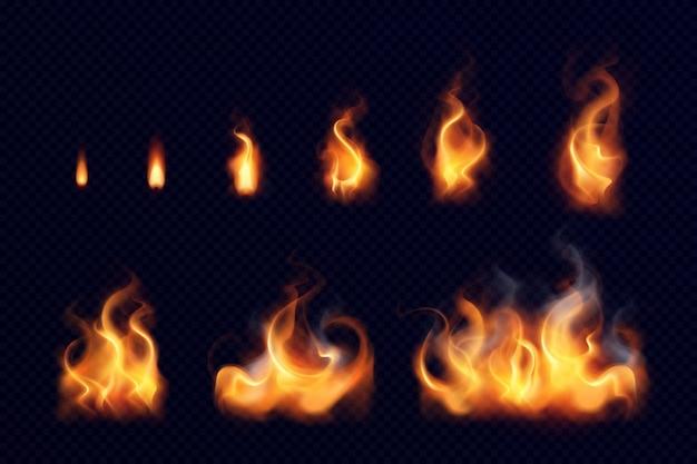 分離された黒の背景に大小の明るい要素の火炎現実的なセット 無料ベクター