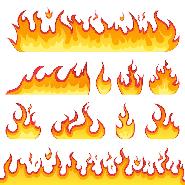 Fire flames icons in cartoon style on a white background. flames of different shapes. fireball set, flames symbols. illustration. Premium Vector