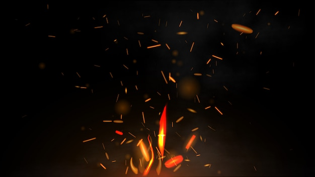 Fire flying sparks on a black background Premium Vector