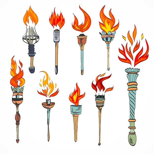 Fire glowing flame retro sketch torch icons set isolated vector illustration Free Vector