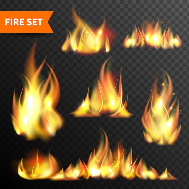 Fire glowing flames icons set Free Vector