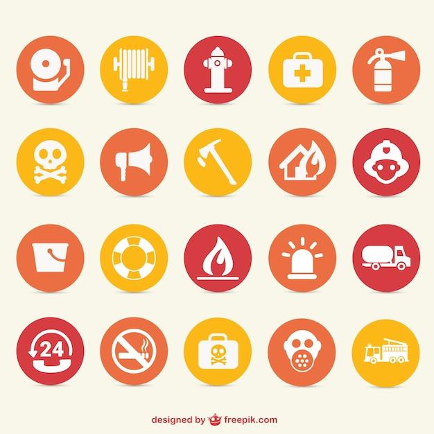 Fire hazard icons set