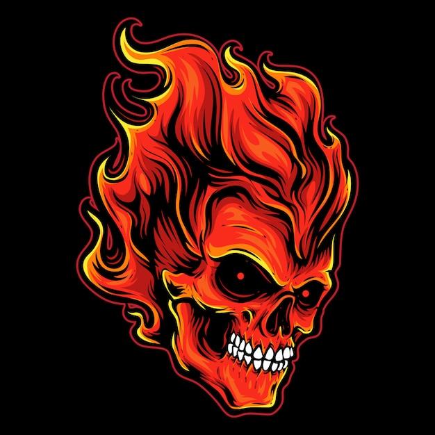 Fire head skull logo Premium Vector