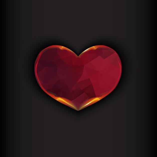 Fire heart on black background Premium Vector